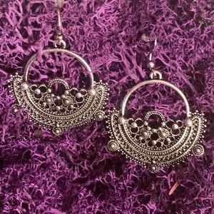 NEW Bohemian Dangle Silver Tone Tibetan Earrings